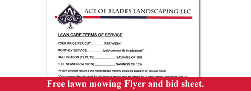 Free lawn mowing flyer and bid sheet