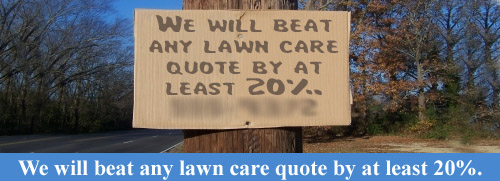Lawn care business marketing sign