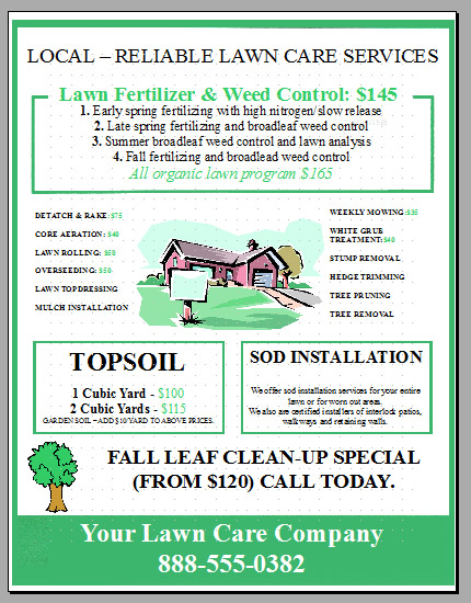 Lawn care flyer template word for Garden maintenance flyer template