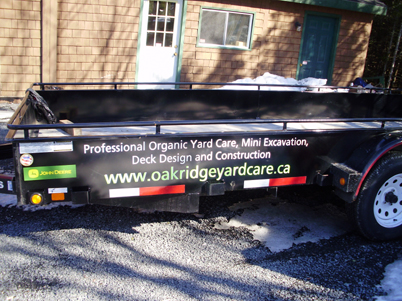 Lawn care trailer vinyl sign graphics