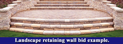 Landscape retaining wall bid example