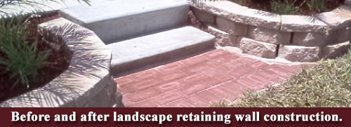 Before and after landscape retaining wall construction.