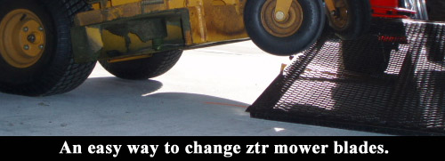 An easy way to change ztr mower blades