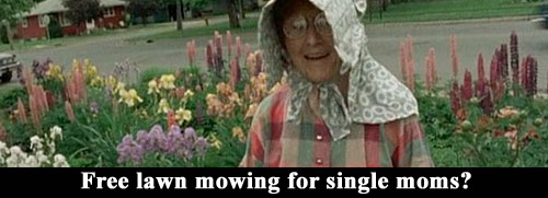 Free lawn mowing for single moms