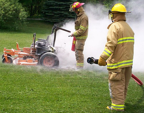 Scag mower on fire