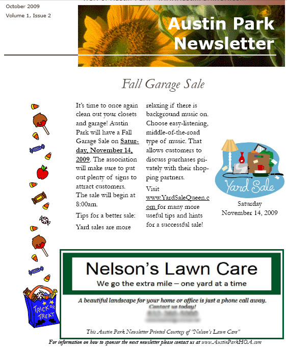 Lawn care business newsletter ad