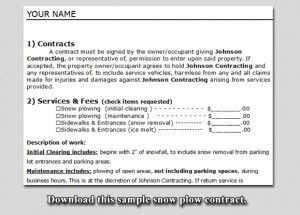 Sample Snow Plow Contract Lawn Care Business Marketing Tips
