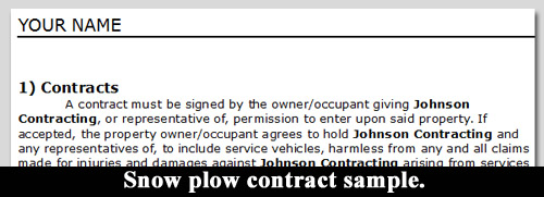 Snow Plow Contract Sample