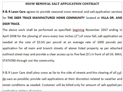 sample snow plow contract