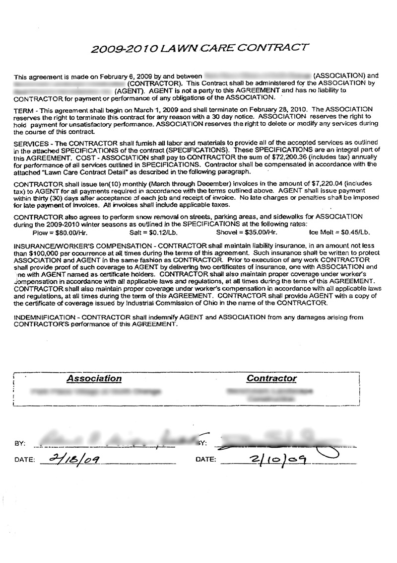 Lawn care contract example