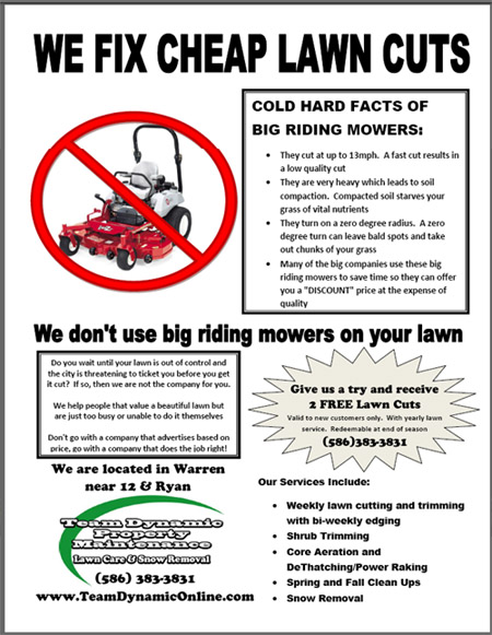 Lawn Care Flyer Lawn Care Business Marketing Tips