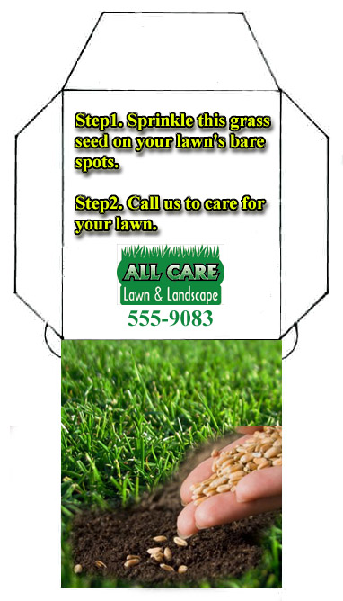 Graass seed envelope for lawn care marketing.