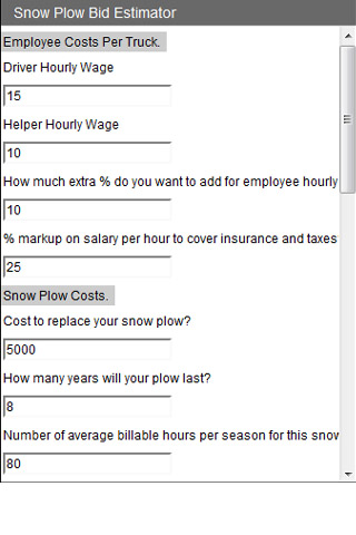 Snow Plow Bid Estimator screen cap 1
