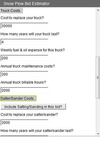 Snow Plow Bid Estimator screen cap 2