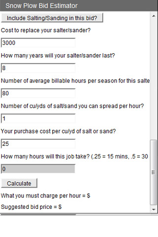 Snow Plow Bid Estimator screen cap 3