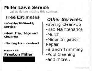 Lawn Care Business Card 10 back