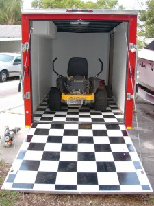 My lawn care trailer and mower.