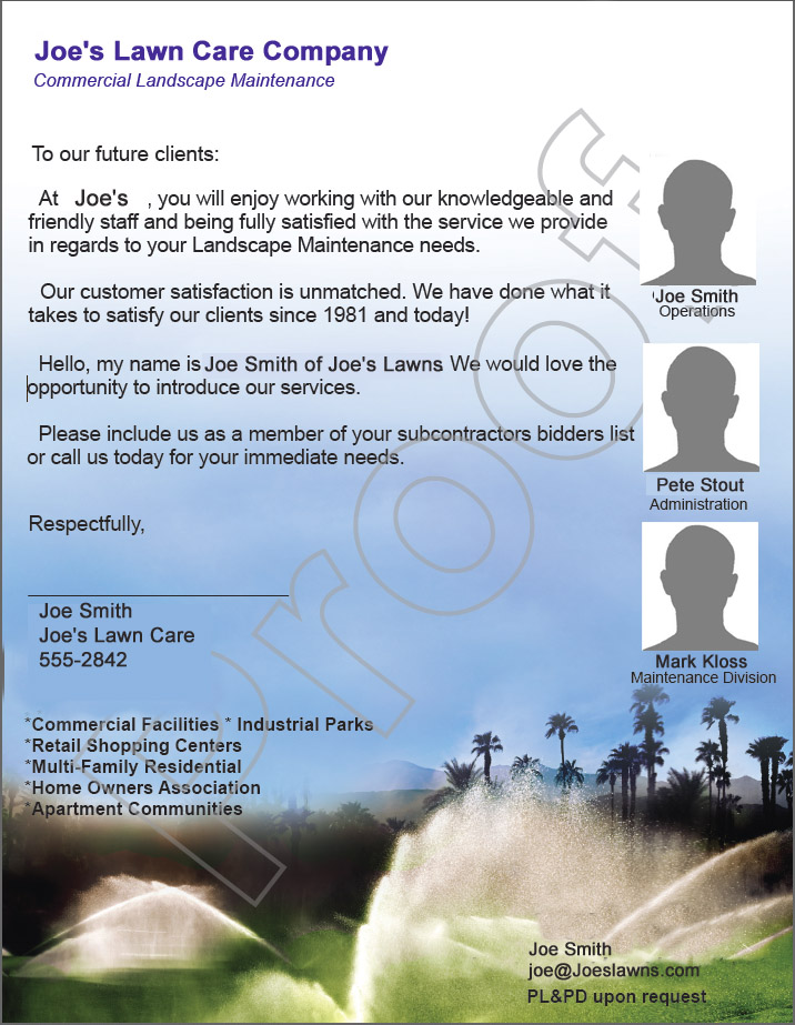 Lawn care business letter sent to property managers.