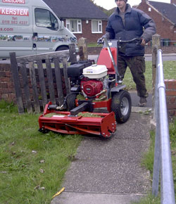 Wide lawn mower narrow gate.