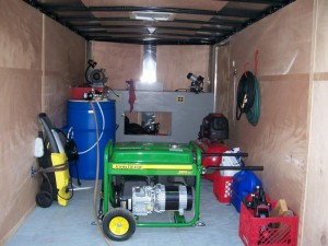 Mobile lawn mower repair service trailer
