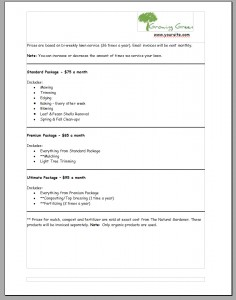 Lawn Care Bid Example Page 2
