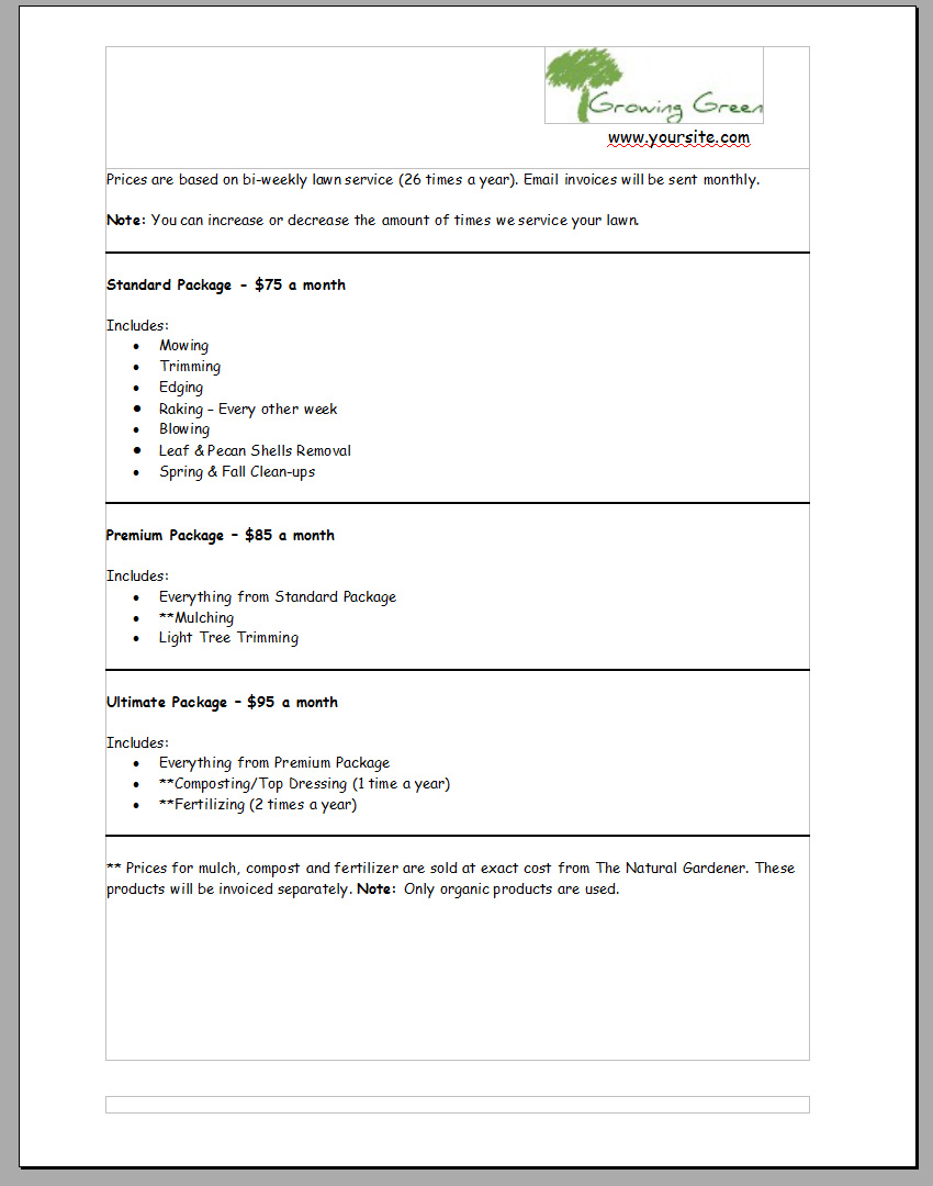 8+ Lawn Service Contract Templates – Sample, Example