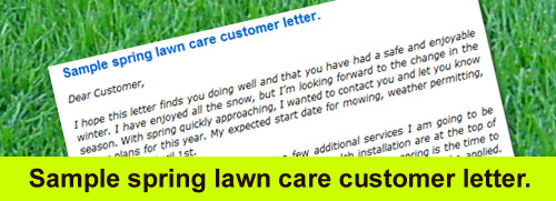 Sample Lawn Care Customer Letter