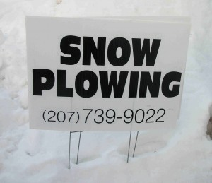 Snow Plowing Lawn Sign