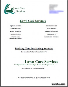 Spring Lawn Care Flyer Response Rate Lawn Care Business