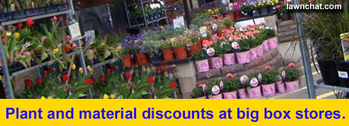 Plant discounts at big box stores.