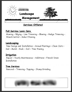 Review my lawn care flyer.