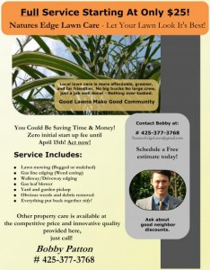Lawn care business flyer example.