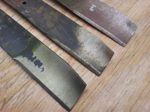 Lawn mower blade BEFORE sharpening.